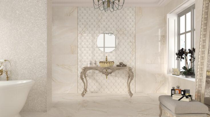 Cerámica efecto mármol en el baño