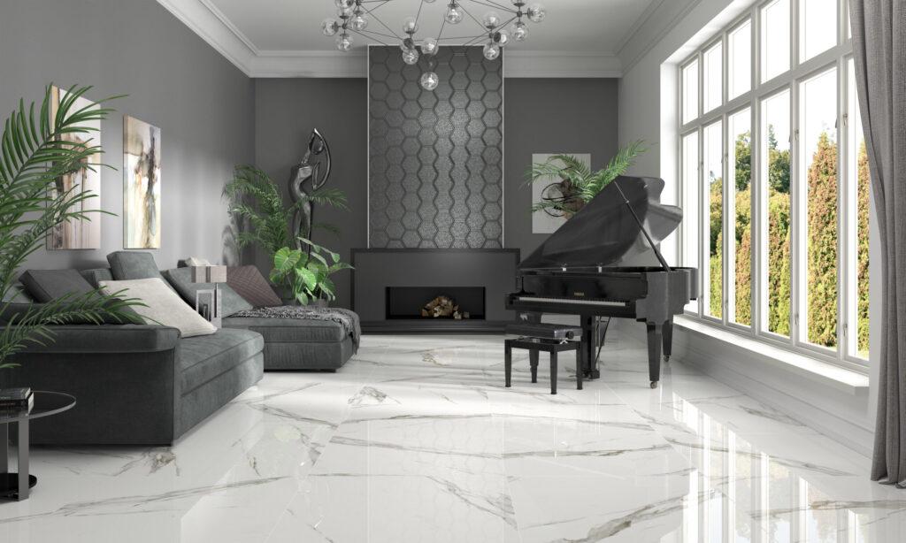 Modern Glam calacatta Suelo cerámico efecto mármol pulido blanco