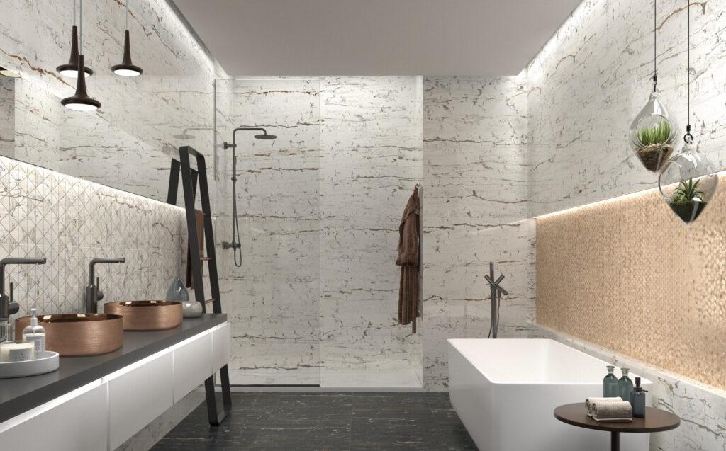 Azulejos efecto mármol en el baño