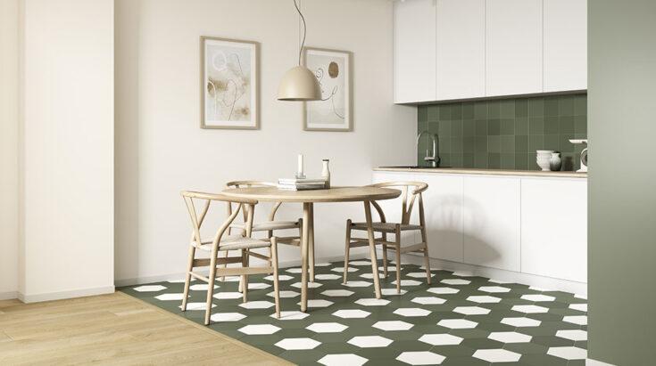 Azulejos hexagonales para cocina verde y blanco
