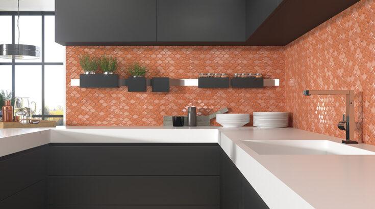 Mosaico para cocina moderno Coral