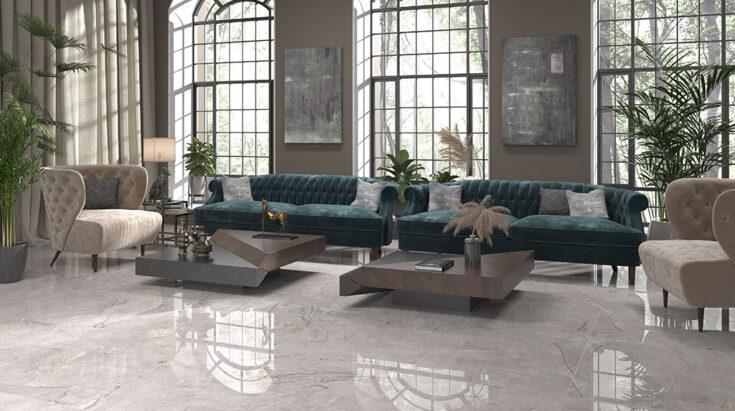 Suelo cerámico efecto mármol gris para salón