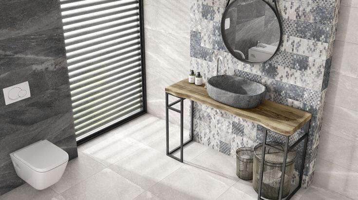 Azulejos rústicos efecto piedra para baño