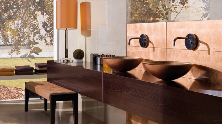 Lavabos modernos de cristal cobre