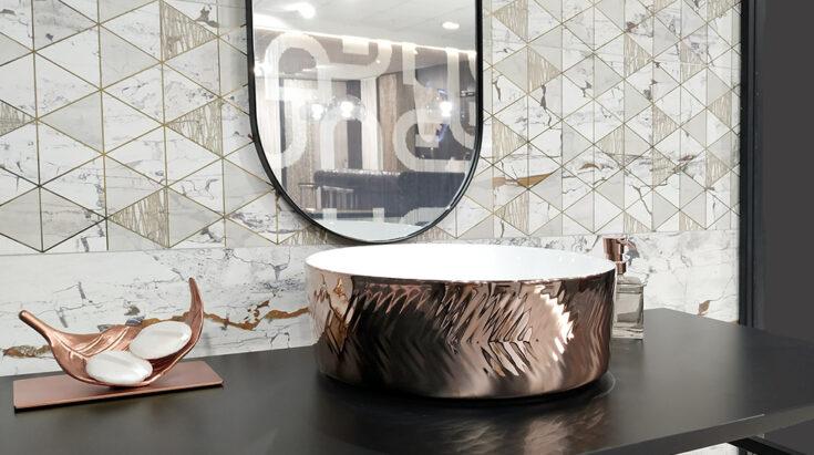 Lavabos metálicos modernos para baño spiga rose gold