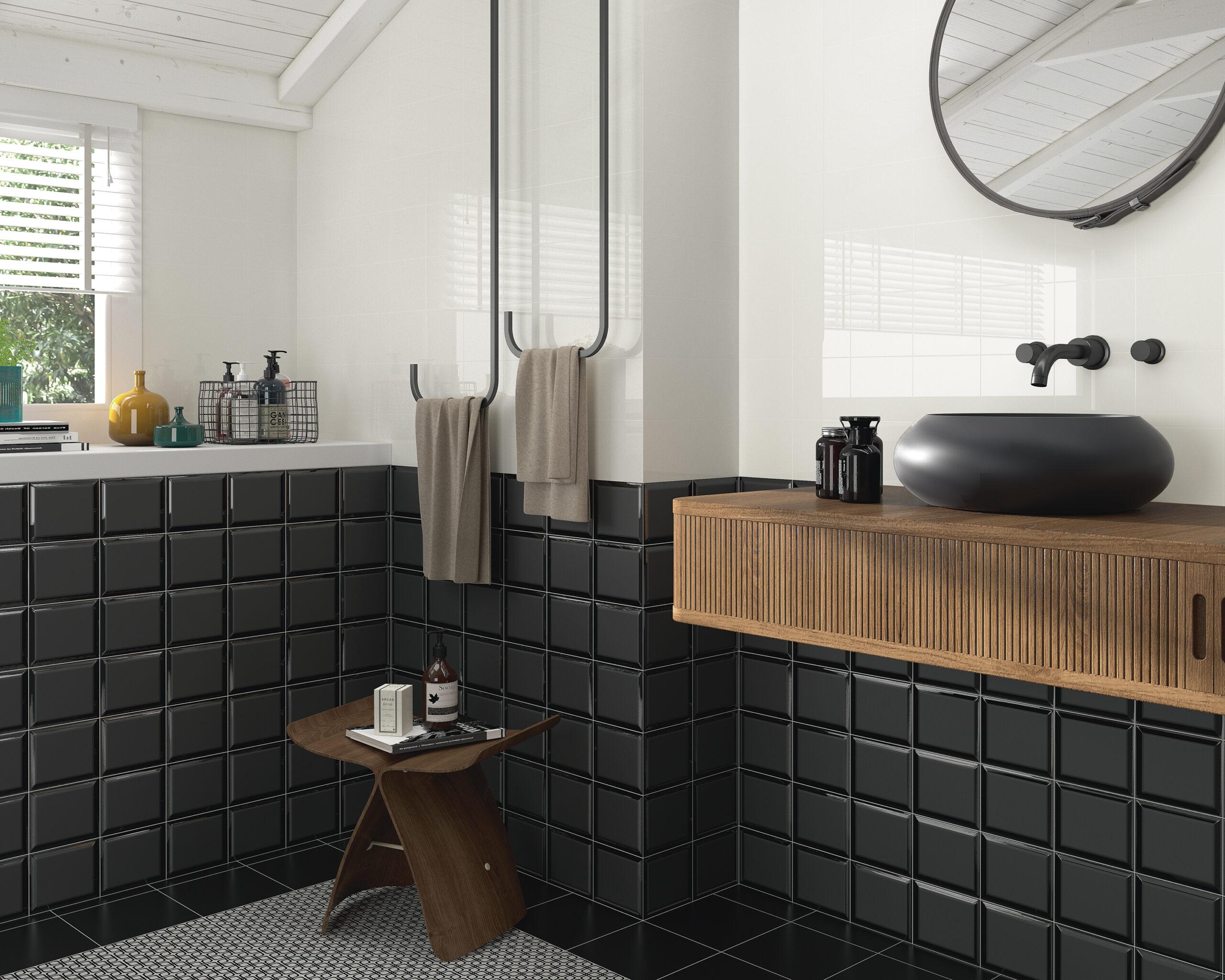 Combinaciones en blanco y negro para baño