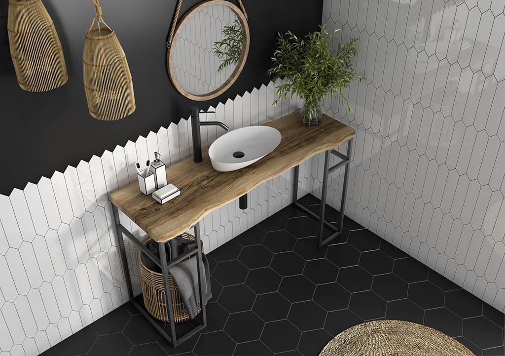 baño combinación azulejos blanco y negro