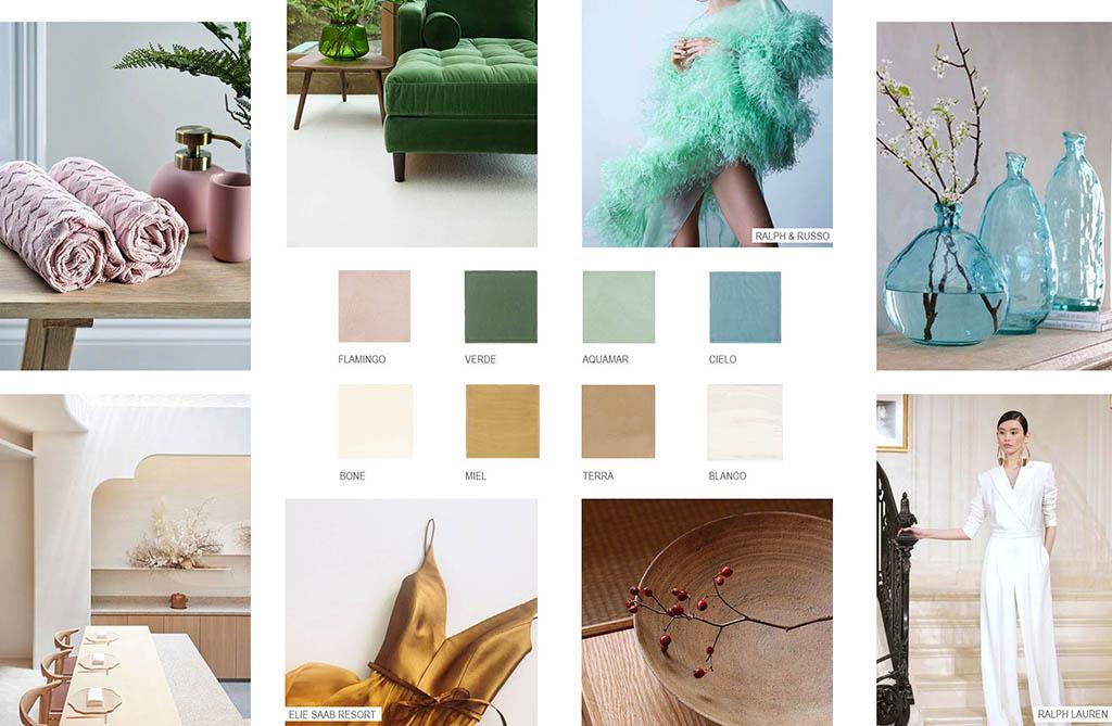 Paleta de colores frescos para baños de verano