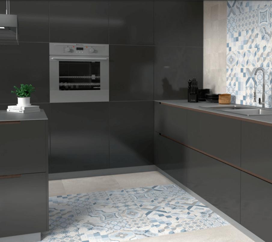 Cocinas minimalistas con azulejos para pavimentos y revestimientos